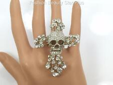 Crystal Skull Cross Ring - Silver Tone