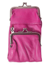 Pink Leather Cigarette Smoke Carrying Case Coin Holder Zip Pocket Wallet