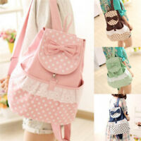 Women's Korean Fashion Cute Canvas Satchel Girls Sweet Lace Bowknot Backpack New