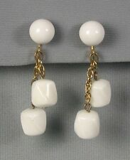 Crown Trifari White Lucite Dangling Earrings