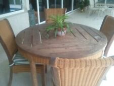 Outdoor Teak and Wicker 48in. Table and 4 chairs