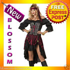 C796 Pirate Wench Buccaneer Halloween Fancy Dress Adult Ladies Costume Outfit