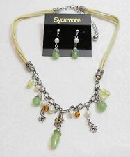 DANGLING PINK BEADS AND FLOWER CHARMS NECKLACE & EARRING SET -MULTI-STRAND CORD