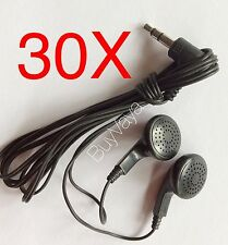30x Disposable head Phones Or Ear Buds Black Color  Stereo Sound Good Quality