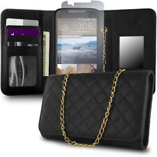 for HTC Desire 828 Wallet Case - Black Purse Quilted Bag Mirror Pouch