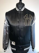 Majestic Cooperstown NY New York Yankees Varsity Bomber Jacket Black Silver XS