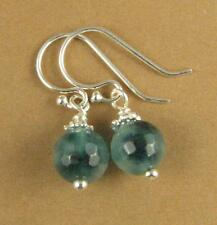 Moss agate round faceted earrings. Small, blue / green. Sterling silver 925.