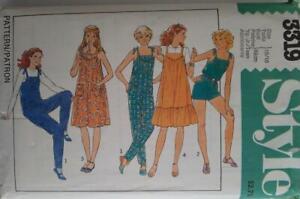 STYLE Pattern 3319 SZ 15-16 UNCUT 80's TEEN'S JUMPSUIT PULLOVER DRESS/PINAFORE