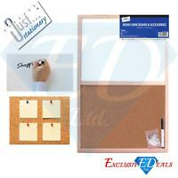 Framed Memo Cork Board & Dry Wipe White Board With Accessories 600mm x 400mm