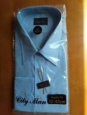 """Brand New City Man Men's Shirt Business Work Smart Long Sleeve Blue Size 17"""""""