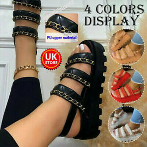 Womens Chunky Sandals Thick Sole Chain Strappy Block Flatforms Summer Shoes Size