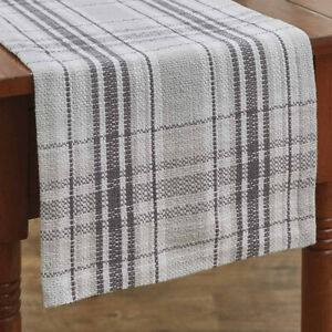 Collin Charcoal Grey Off White Plaid Woven Cotton Country Cottage Table Runner