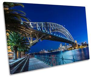 Blue Sydney Harbour Bridge Sunset SINGLE CANVAS WALL ART Box Framed