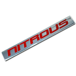 CHROME/RED METAL NITROUS NOS ENGINE RACE MOTOR SWAP BADGE FOR TRUNK HOOD DOOR