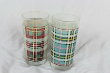 Ralph Lauren Plaid Tartan Printed Tumbler Drinking Glasses Cup Set of 2