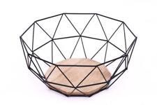 Black Geometric Metal Wire Wood Decorative Storage Display Basket Fruit Bowl