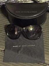 MARC BY MARC JACOBS MMJ054/N/S SUNGLASSES BLACK CHAIN LINK DETAIL SILVER W/ CASE
