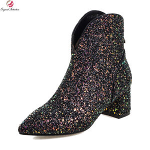 Women Sexy Boots Pointed Toe Square Heels Stylish Glitter Prom Shoes Size 3-10.5
