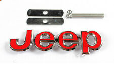 JEEP RED METAL FRONT GRILLE GRILL BADGE EMBLEM NEW