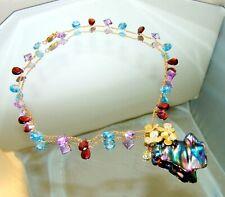 Diamond Peacock Rainbow Luster  Baroque Pearl Amethyst Gemstone Necklace 925