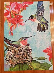 "Evergreen Brand Satin Hummingbirds Decorative 43"" X 29"" Garden Yard Flag"