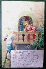 Vintage Postcard PPC, Romantic Girl