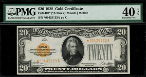 1928 $20 Gold Certificate FR-2402* - Star Note - PMG 40 EPQ - Extremely Fine