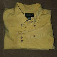 Men's EDDIE BAUER Button Down Shirt XL Yellow Long Sleeve 100% Cotton