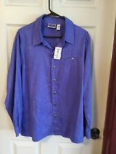 NWT Chico's Bluejay Blue Brushed Polyester Shirt Size 3