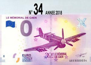 BILLET 0€ SOUVENIR TOURISTIQUE,N°34 CAEN MEMORIAL, PORT GRATUIT.ANNEE 2018.