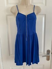 H&M Blue Summer Dress With Zip Detail Size 8
