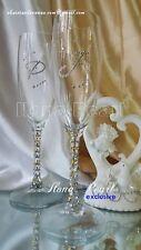 Swarovski Crystal Gold Wedding Personalized Toasting Champagne Glasses Flutes