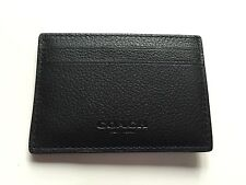 NWT F75459 BLACK Authentic COACH CALF LEATHER MONEY CLIP CARD CASE  $95.00