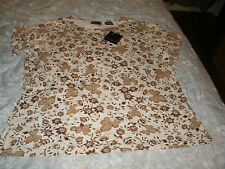 Apostrophe ladies ivory colored floral knit top new with tags size 16-18W