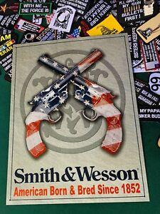 SMITH & WESSON SINCE 1852 METAL TIN SIGN W/ FREE PATCH dtom gun vintage garage