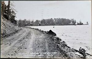 Crandon dirt road to World's End Resort, 1946 RPPC, Wisconsin WI