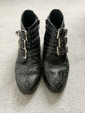 Office Black Leather Studded Buckle Boots 3 36