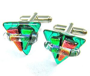 DICHROIC Fused GLASS Cuff Links Aqua Teal Green Orange Triangle Formal Wear Men
