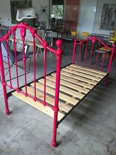 Single Cast Iron Leopold Bed Hot Pink Girl