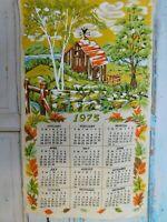 1975 Vintage Print Linen Wall Calendar Tea Towel Barn Unused Craft A33