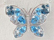 14K Butterfly Necklace Blue Topaz Aquamarine Diamond White Gold Pendant