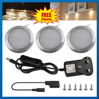 3PCs LED Under Cabinet Lights Recessed Kitchen Cupboard Spotlights 12V UK Plug