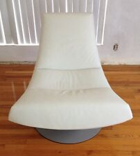B&B ITALIA GIJS PAPAVOINE OLIVIER SWIVEL CHAIR BY MONTIS IN WHITE LEATHER X 2