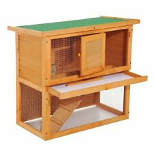 """35"""" 2-Level Wooden Rabbit Hutch Small Animal House w/ Built in Run Outdoor"""