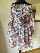 Buffalo London Kleid Tunika Hippie Chiffon Impressionen Boho Gr 36-40 wie Neu