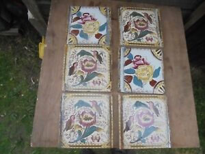 """6 OLD 6"""" X 6"""" GLAZED TILES FROM A FIRE SURROUND"""