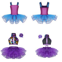 UK Girls Ballet Dance Dress Kid Gymnastics Sleeveless Mesh Tutu Skirts Dancewear