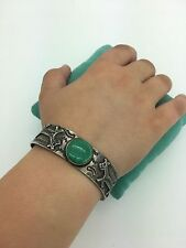 OLD Fred Harvey Navajo Sterling silver turquoise HORSE DOG bracelet