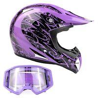 Adult Purple Motocross Helmet Combo DOT Goggles ATV UTV MX Off-Road Dirt-Bike