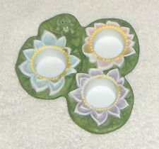 PARTYLITE Pond Lily Pad Lilypad w/ Frog & Flowers TEALIGHT CANDLE HOLDER VGC